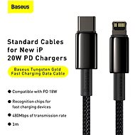 Baseus Tungsten Gold Fast Charging Data Cable Type-C to Lightning PD 20W 1m Black - Data Cable