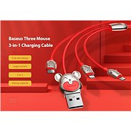 Baseus Mouse 3 in 1 Lightning + USB-C + MicroUSB Cable 3.5A 1.2m Black - Power Cable