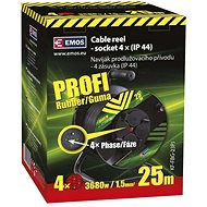 Emos Rubber Extension Cable on the Drum - 4 sockets 25m - Extension Cord
