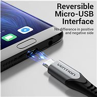 Vention Reversible USB 2.0 to Micro USB Cable 2M Grey Aluminium Alloy Type - Data Cable