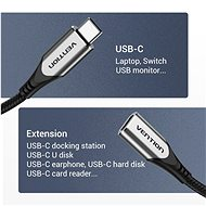 Vention Nylon Braided Type-C (USB-C) Extension Cable (4K/PD/60W/5Gbps/3A), 0.5m, Grey - Data Cable