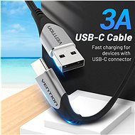 Vention Type-C (USB-C) <-> USB 2.0 Cable 3A, Grey, 2m, Aluminium Alloy Type - Data cable