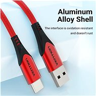 Vention Type-C (USB-C) <-> USB 2.0 Cable 3A, Red, 1.5m, Aluminium Alloy Type - Data cable