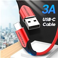 Vention Type-C (USB-C) <-> USB 2.0 Cable 3A, Red, 2m, Aluminium Alloy Type - Data cable