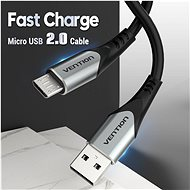Vention Luxury USB 2.0 -> microUSB Cable 3A, Grey, 0.5m, Aluminium Alloy Type - Data Cable
