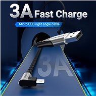Vention Reversible 90° USB 2.0 -> MicroUSB Cotton Cable Grey 0.5m Aluminium Alloy Type - Data Cable