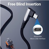 Vention Reversible 90° USB 2.0 -> MicroUSB Cotton Cable Grey 3m Aluminium Alloy Type - Data Cable