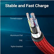 Vention Reversible 90° USB 2.0 -> MicroUSB Cotton Cable Red 1m Aluminium Alloy Type - Data Cable