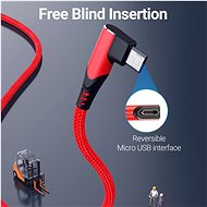 Vention Reversible 90° USB 2.0 -> MicroUSB Cotton Cable Red 1.5m Aluminium Alloy Type - Data Cable