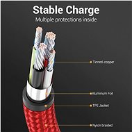 Vention Type-C (USB-C) 90° <-> USB 2.0 Cotton Cable Red 2m Aluminium Alloy Type - Data Cable