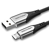Vention Luxury USB 2.0 -> microUSB Cable 3A, Grey, 2m, Aluminium Alloy Type - Data Cable