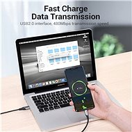 Vention USB-C to USB 2.0 Fast Charging Cable 5A 2M Grey AluminIum Alloy Type - Data Cable