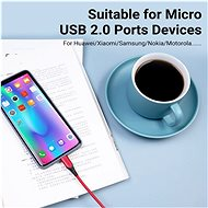 Vention Luxury USB 2.0 -> microUSB Cable 3A, Red, 1m, Aluminium Alloy Type - Data Cable