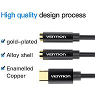 Vention Type-C (USB-C) to Dual 3.5mm Female Audio Cable, 0.3m, Black, Metal Type - Adapter