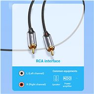 Vention 3.5mm Jack Male to 2-Male RCA Cinch Cable 8M Grey Aluminium Alloy Type - Audio Cable