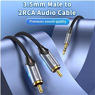 Vention 3.5mm Jack Male to 2-Male RCA Cinch Cable 10M Grey Aluminium Alloy Type - Audio Cable
