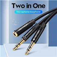 Vention 2x 3.5mm Male to 3.5mm Female Audio Cable, 0.3m, Black, ABS Type - Adapter