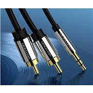 Vention 3.5mm Jack Male to 2x RCA Male Audio Cable 5m Black Metal Type - Audio Cable
