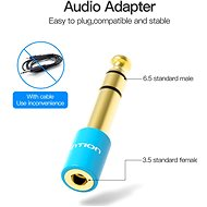 Vention 6.3mm Jack Male to 3.5mm Female Audio Adapter, Blue - Adapter