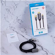 Vention Type-C (USB-C) to HDMI Cable with USB Power Supply, 1.5m, Black, Metal Type - Video Cable