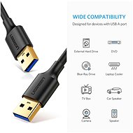 Ugreen USB 3.0 (M) to USB 3.0 (M) Cable Black 1m - Data Cable