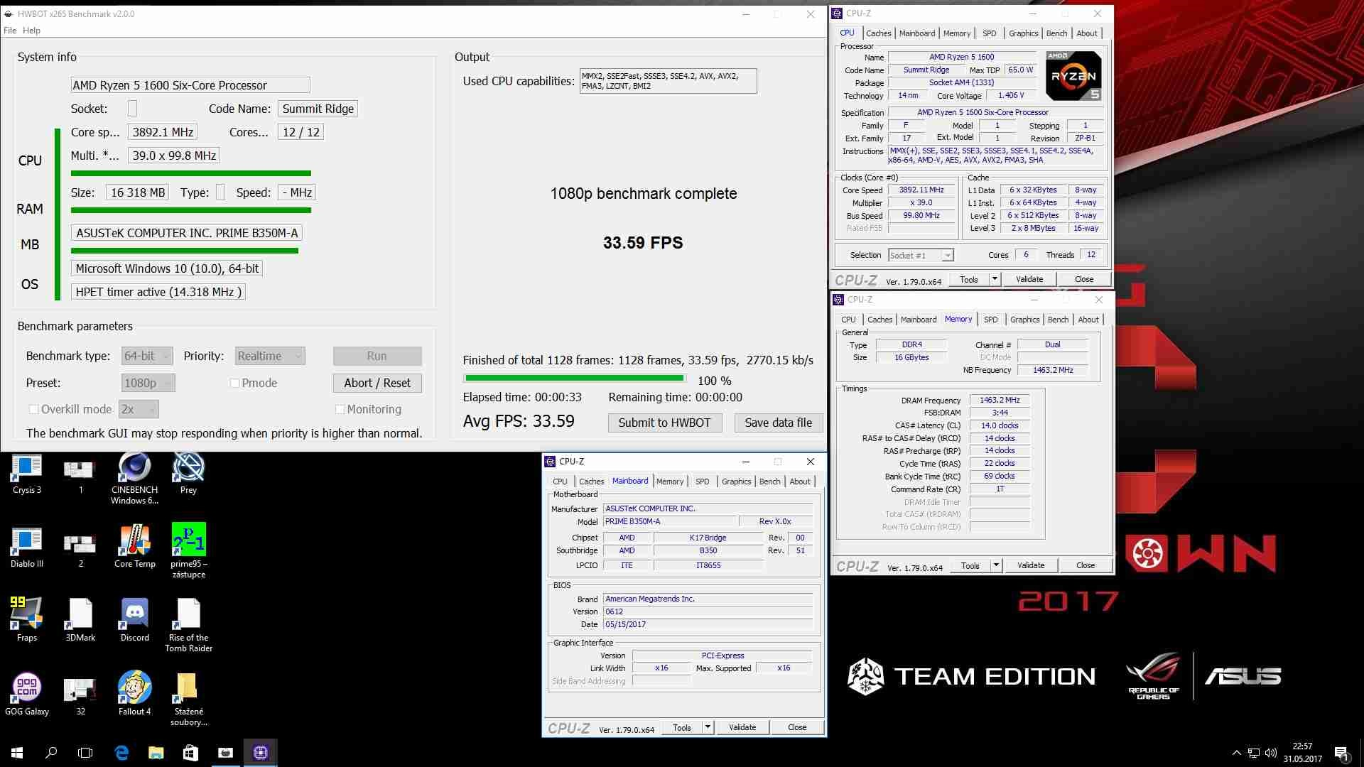 HWBOT H265; test with Ryzen 5 1600 on ASUS B350M-A PRIME