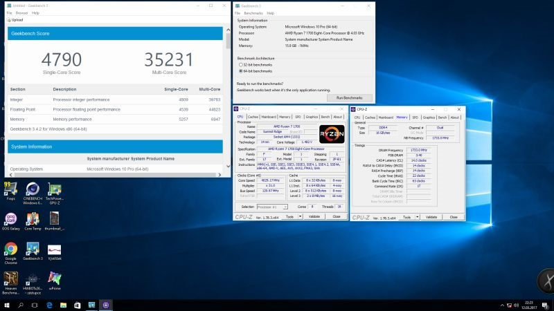 benchmark GeekBench 3; single and multi thread testing