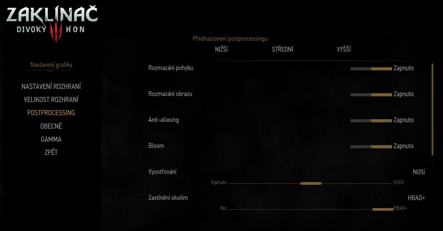 The Witcher 3: Wild Hunt Game Settings Postprocessing 1