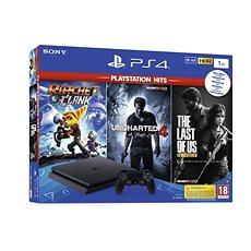 PlayStation 4 Slim 1TB  + 3 Games (The Last Of Us, Uncharted 4, Ratchet and Clank) - Game Console