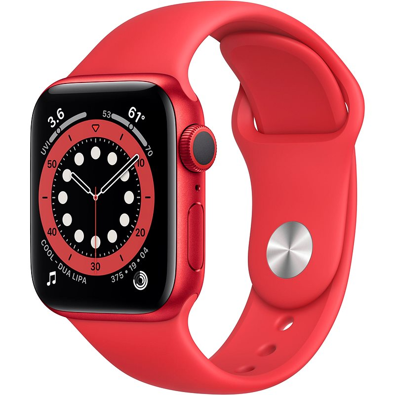 Apple Watch Series 6 40mm Red Aluminium with Red Sports Strap - Smartwatch