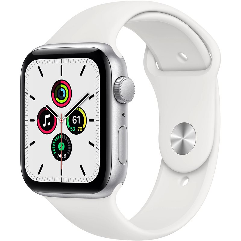 Apple Watch SE 40mm Silver Aluminium with White Sports Strap - Smartwatch