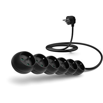 CONNECT IT extension 230V, 6 sockets, 2m, black - Extension Cord