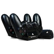 4Gamers Twin Charging Dock Black + Microfibre Cloth - PS4 - Charging Station