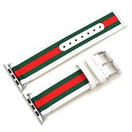 Eternico 42mm Apple Watch Nylon Band, White Green Red - Watch band