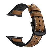 Eternico 42mm / 44mm Leather and Silicone Band Brown for Apple Watch - Watch band