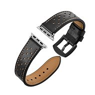 Eternico 42mm Apple Watch Leather Band. Black - Watch band
