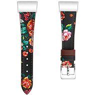 Eternico Fitbit Charge 3 / 4  Genuine Leather Red Flower (Large) - Watch Band