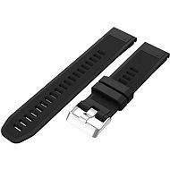 Watch band Eternico Garmin Quick Release 22 Silicone Band Silicone Silver Buckle, Black - Řemínek