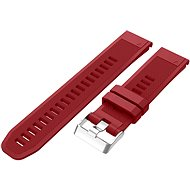Eternico Garmin Quick Release 22 Silicone Band Silicone Silver Buckle, Red - Watch band