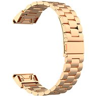 Eternico Garmin 22 Stainless Steel Band Silver Steel Buckle, Rose Gold - Watch band