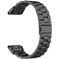 Eternico Garmin 22 Stainless Steel Band Black Steel Buckle, Black - Watch band