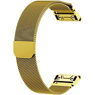 Eternico Garmin Quick Release 20 Milanese Band Steel Silver Buckle, Gold - Watch band