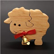 AMADEA Wooden Sheep with Bell, Solid Wood, 6x5x2cm - Decoration