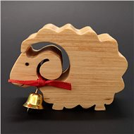 AMADEA Wooden Sheep with a Bell, Solid Wood, 6x4,5x2cm - Decoration