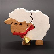 AMADEA White Wooden Sheep with Bell, Solid Wood, 6x5x2cm - Decoration