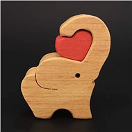 AMADEA Wooden Elephant with Heart, Solid Wood, 6x5x2cm - Decoration