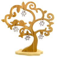 AMADEA Wooden 3D Tree with Birds and Snowflakes, Solid Wood, Height of 20cm - Decoration
