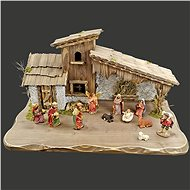 AMADEA Wooden Grey-brown Nativity Scene with 54cm Figures - Decoration