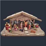AMADEA Set of Wooden Grey-brown Nativity Scene with Figures - 45cm - Decoration