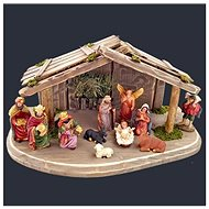 AMADEA Set of Wooden Grey-brown Nativity Scene with Figures, 38cm - Decoration